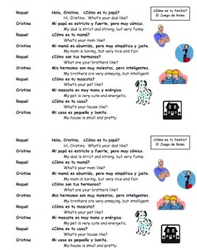 Spanish Adjectives and Family Skit / Dialogue and Translation Activities
