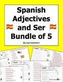 Spanish Adjectives and Ser Bundle of 5 Worksheets