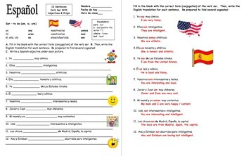 Spanish Adjectives and Ser Bundle of 5 Worksheets