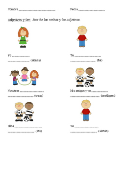Spanish Adjectives and Ser Practice Worksheet