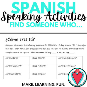 Spanish Speaking Activity - Spanish Adjectives & Ser - Find Someone Who