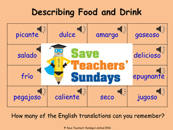 Spanish Adjectives (for food) Lesson plan, PowerPoint (wit