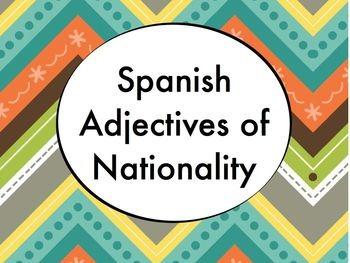 Spanish Adjectives of Nationality BUNDLE- Slideshow, Worksheets Pack, Keynote