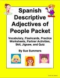 Spanish Adjectives Bundle - Adjectives of People Vocabulary, Practice, Skit