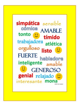 Spanish Adjectives of People Sign, Presentation, and Worksheet