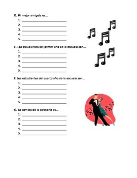 Spanish: Adjectives vocabulary & two practice worksheets (adjective agreement)