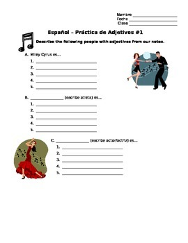 Spanish Adjectives Vocabulary and Worksheets (Practicing adjective agreement)