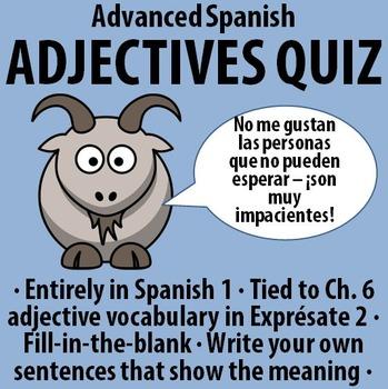 Spanish - Advanced Adjectives Quiz