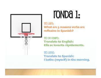 Spanish Advanced Reflexive Verb Basketball