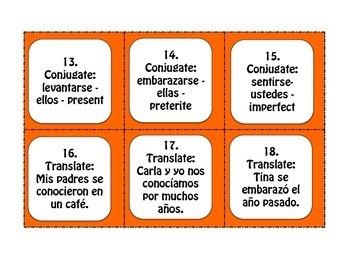 Spanish Advanced Reflexive Verb Task Cards