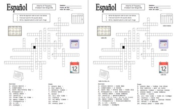 Spanish Adverbs of Frequency Bundle of 6 Worksheets and Vocabulary