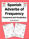 Spanish Adverbs of Frequency Crossword Worksheet and Vocabulary