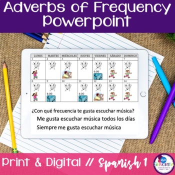 Spanish Adverbs of Frequency Powerpoint & Notes