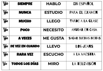 Spanish adverbs of frequency puzzle sentences (hands-on activity)