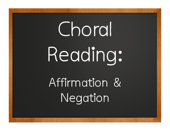 Spanish Affirmation and Negation Choral Reading