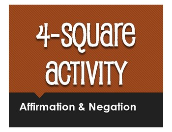 Spanish Affirmation and Negation Four Square Activity