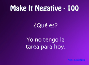 Spanish Affirmation and Negation Jeopardy-Style Review Game