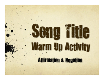 Spanish Affirmation and Negation Song Titles