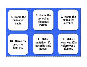Spanish Affirmation and Negation Task Cards