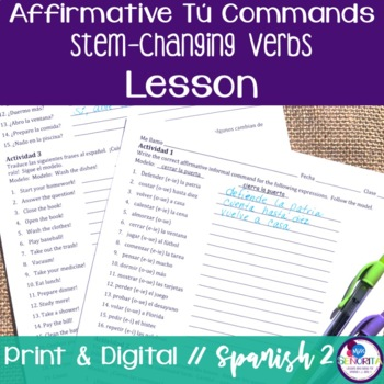 Spanish Affirmative Tú Commands Lesson - Stem-Changing Verbs