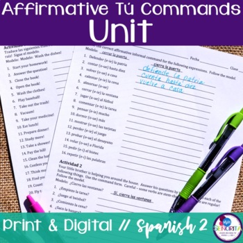 Spanish Affirmative Tú Commands Bundle
