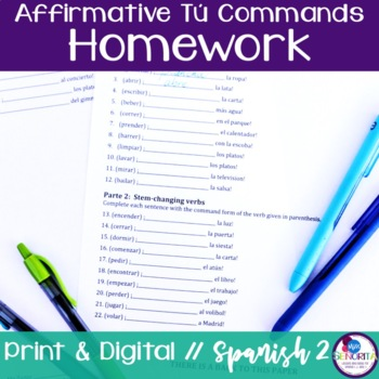 Spanish Affirmative Tú Commands Homework
