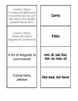 Spanish Affirmative Tú Commands Matching Game