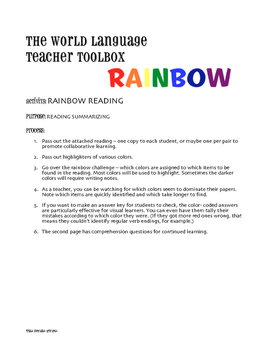Spanish Affirmative Tú Commands Rainbow Reading
