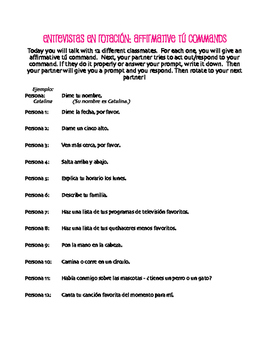 Spanish Affirmative Tú Commands Rotating Interviews