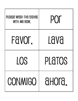 Spanish Affirmative Tú Commands Sentence Mixer
