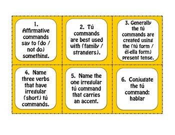 Spanish Affirmative Tú Commands Task Cards