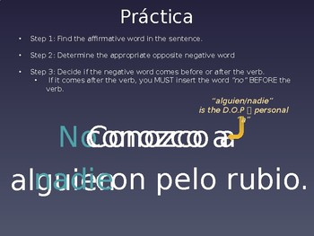 Spanish Affirmative and Negative Word Practice