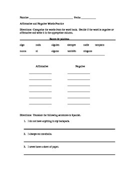 affirmative and negative words in spanish worksheet pdf
