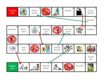 Spanish Affirmative/Negative Tú Commands Boardgame