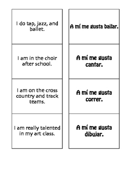 Spanish After School Matching Game
