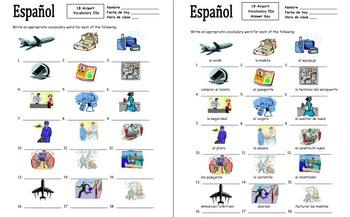Spanish Airport and Travel 18 Vocabulary IDs - El Aeropuerto