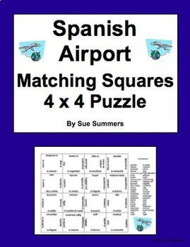 Spanish Airport and Travel 4 x 4 Matching Squares Puzzle