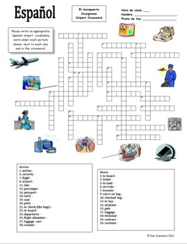 Spanish Airport/Travel Crossword/Word List  - Substitute Lesson