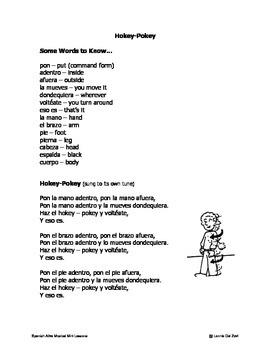 Spanish ¡Alive! Musical Mini-lessons –Hokey-Pokey y más (Spanish body words)