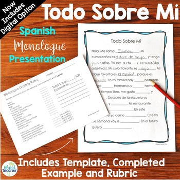 Spanish All About Me Speaking Presentation or Writing Assignment
