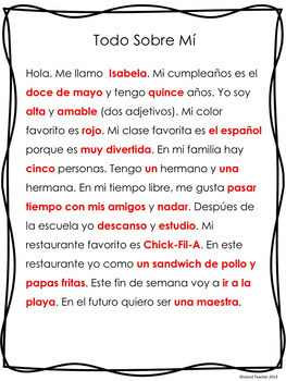 Spanish All About Me Presentation or Writing (Google Slides™ Version Included)