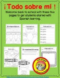 Spanish - All about me! - Back to school activities