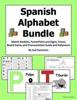 Spanish Alphabet BUNDLE - Pronunciation, Game, Presentation, Chant, Booklet
