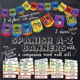 Spanish Alphabet Banner & Companion Word Wall Rainbow Style