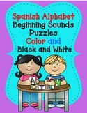 Spanish Alphabet Beginning Sounds Puzzles:  IN BOTH COLOR AND BLACK AND WHITE