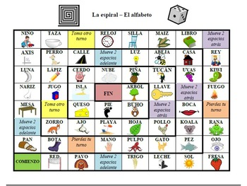 Spanish Alphabet Board Games