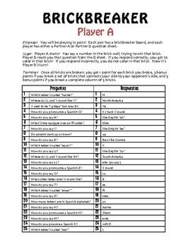 Spanish Alphabet Brickbreaker Partner Game
