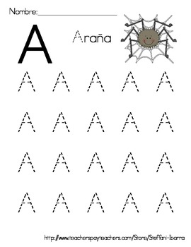 Spanish Alphabet Capital Letter Tracing