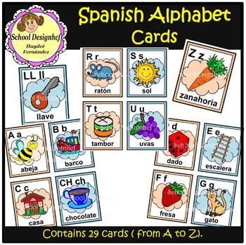 Spanish Alphabet Cards - Cartas del Alfabeto Español (School Design)