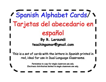 Spanish Alphabet Cards in Red for Dual Language Classrooms